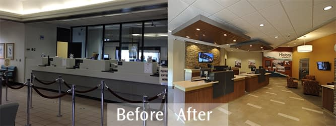 RiverFall Credit Union Northport Branch redesign with no teller line